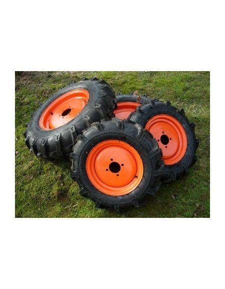 "Kit ruedas agricolas 12"" 4 huecos y 16"" - naranja"